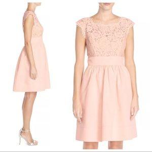 Eliza J Lace Faille Cap Sleeve Dress Blush Petite